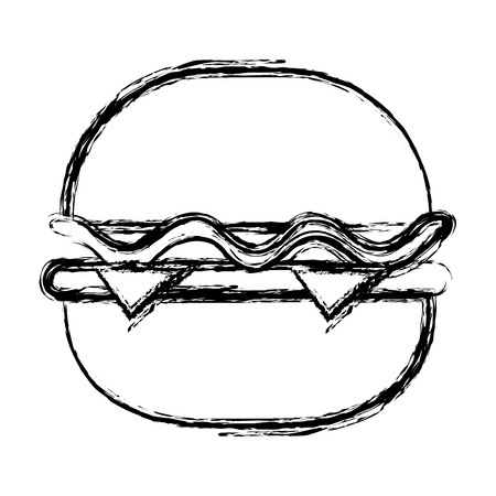 delicious hamburger fast food vector illustration design