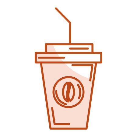 delicious coffee in plastic cup vector ilustration design