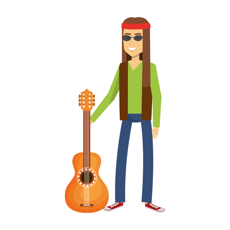 man playing the guitar character hippy lifestyle vector illustration design Illustration