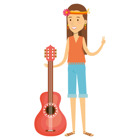 subculture: woman playing the guitar character hippy lifestyle vector illustration design Illustration