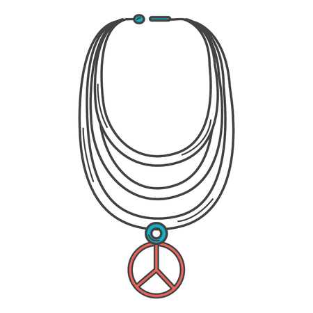 necklace with peace symbol isolated icon vector illustration design 向量圖像