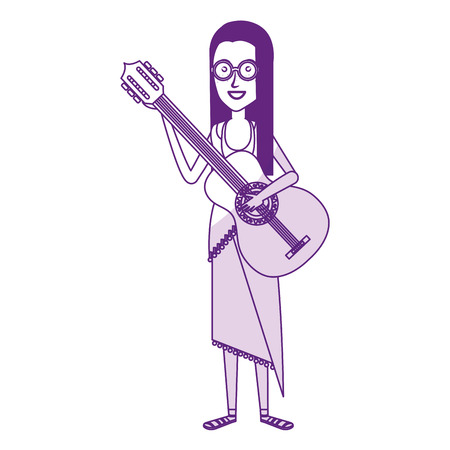 woman playing the guitar character hippy lifestyle vector illustration design Illustration