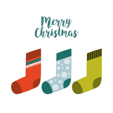 socks happy merry christmas card vector illustration design