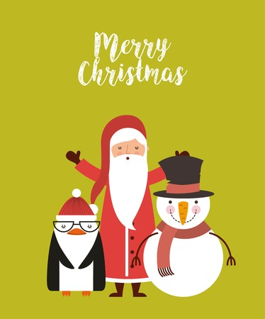 set figures happy merry christmas card vector illustration design Illustration