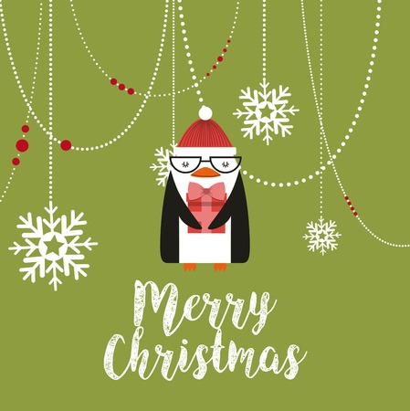 penguin happy merry christmas card vector illustration design