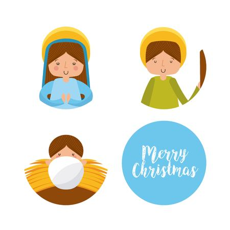 family holiday: manger characters isolated icon vector illustration design Illustration
