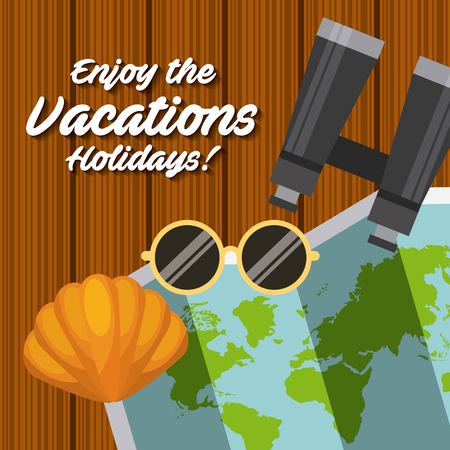 Geniet van het pictogramontwerp van de vakantiesreis geïsoleerd pictogram Stockfoto - 80352274
