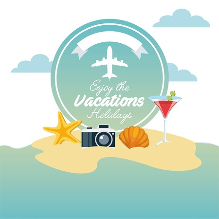 enjoy vacations travel isolated icon vector illustration design Illustration