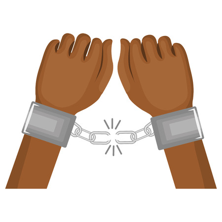 handcuffed: hand human with handcuff vector illustration design