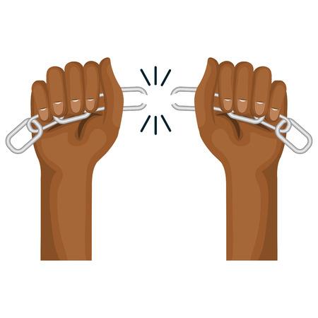 Manos humano con la ruptura de cadena ilustración vectorial diseño Foto de archivo - 80353186