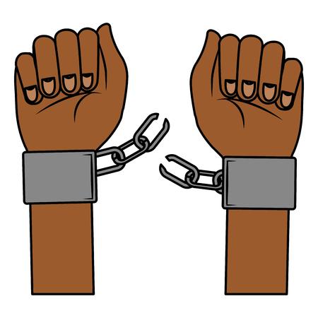 hand human with handcuff vector illustration design
