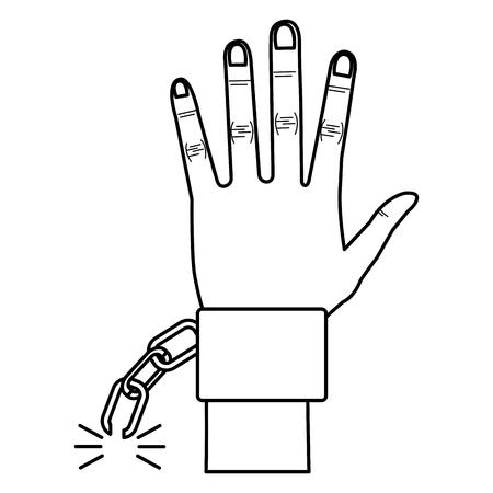 手錠ベクトル イラスト デザインと人間の手  イラスト・ベクター素材