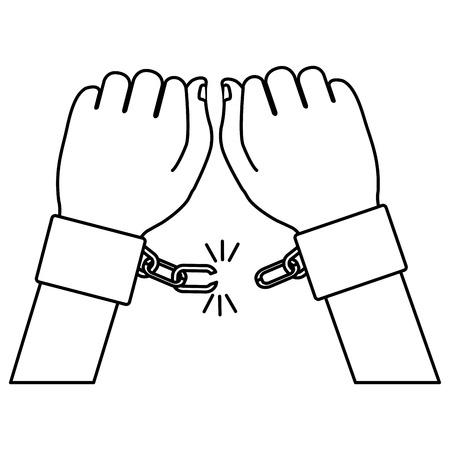 humain à la main avec la conception de l'illustration vectorielle menottes Vecteurs