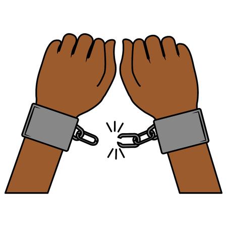 Hand mens met handcuff vector illustratie ontwerp Stock Illustratie