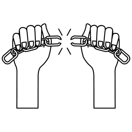 hands human with chain break vector illustration design