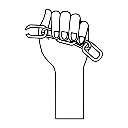 체인 휴식 벡터 일러스트 디자인을 가진 인간의 손에