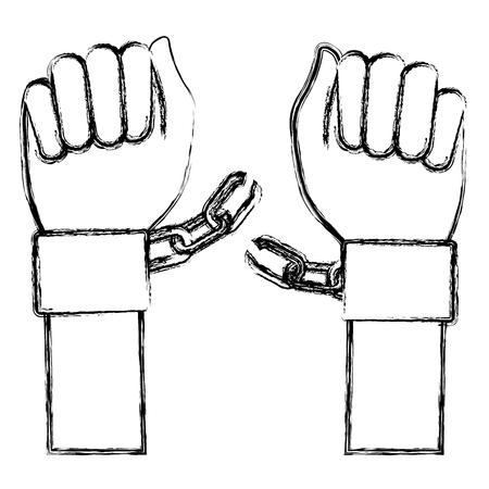 prison break: hand human with handcuff vector illustration design