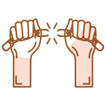 slavery: hands human with chain break vector illustration design