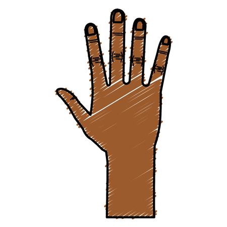 Illustrazione vettoriale di icone aperte di mano umana Archivio Fotografico - 80353725