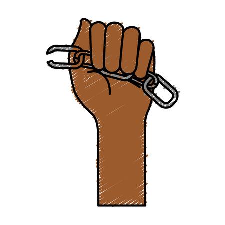 symbol victim: hands human with chain break vector illustration design