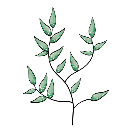 simple life: leafs plant decorative icon vector illustration design