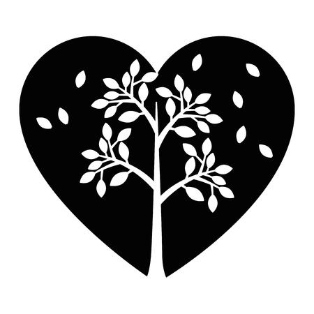 Corazón con hojas icono ilustración vectorial diseño gráfico