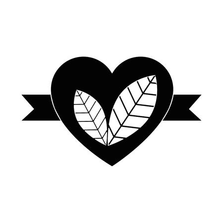 Hart met bladeren pictogram vector illustratie grafisch ontwerp
