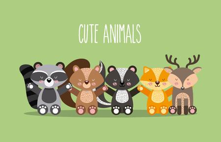 cute animals illustration icon vector design graphic