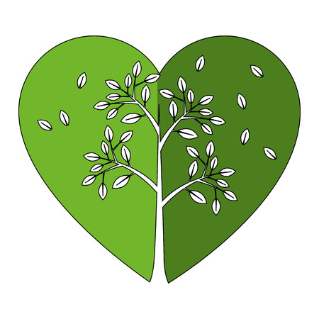 tree isolated: Heart with leaves icon vector illustration graphic design