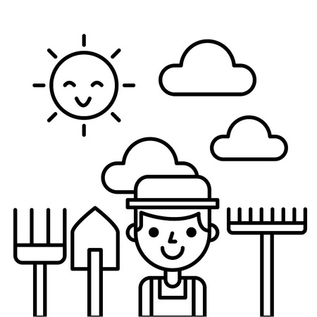 farmer farm person flat icon vector illustration design graphic
