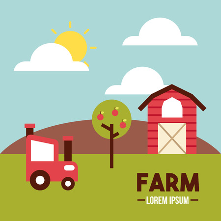 farm lorem ipsum flat icon vector illustration design graphic