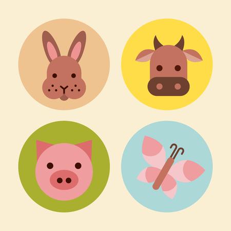 Conjunto de iconos de animales de granja ilustración vectorial diseño gráfico Foto de archivo - 80450545