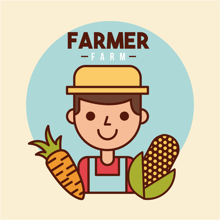 farmer farm person flat icon vector illustration design graphic