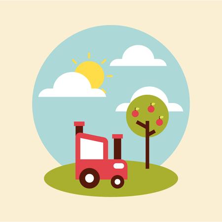 farm circle background flat icon vector illustration design graphic