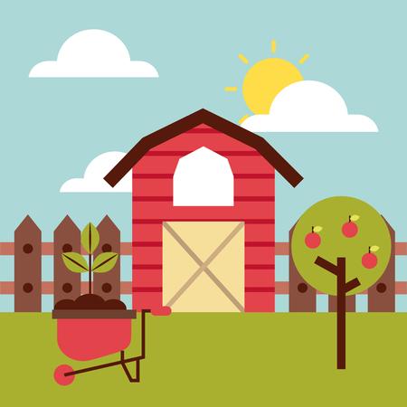 tree isolated: big farm flat icon vector illustration design graphic Illustration