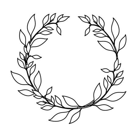 기호 아이콘 벡터 일러스트 레이 션의 주위에 잎 그래픽 디자인 일러스트