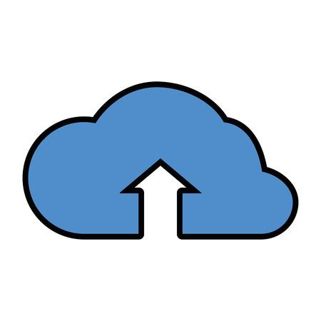 Cloud computing upload pictogram vector illustratie grafisch ontwerp Stock Illustratie