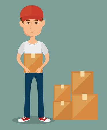 Man carrying a box with pile of boxes over green background vector illustration Иллюстрация