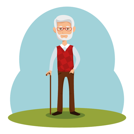 Old man with walking cane over blue green and white background vector illustration