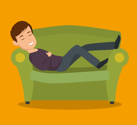 Man sleeping on couch over yellow background vector illustration