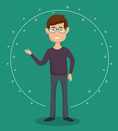 青緑背景ベクトル図で眼鏡の男  イラスト・ベクター素材