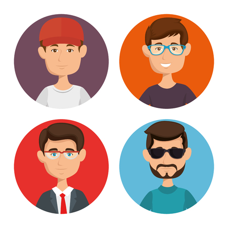 Men with different styles icon set over white background