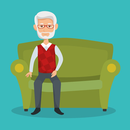Old man sitting on couch over teal background vector illustration