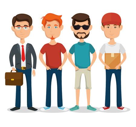Staande mannen met verschillende stijlen op witte achtergrond vector ilustratie Stockfoto - 80452200