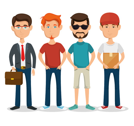 ilustration: Standing men with different styles over white background vector ilustration