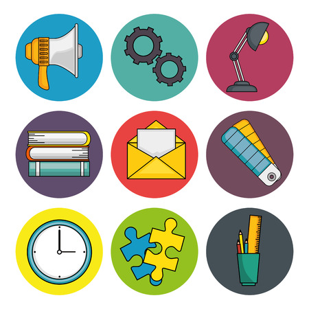 Office supplies icon set over white background vector illustration
