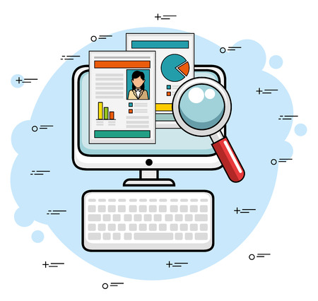 Computer with document stats and magnifying glass over blue and white background vector illustration Ilustração