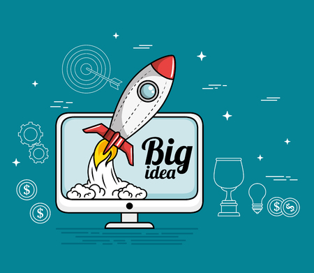 Computer screen with rocket and big idea sign over blue background vector illustration Illustration