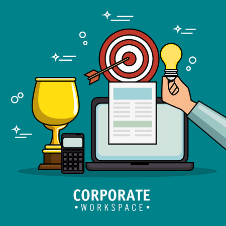 Corporate workspace design with business related objects over teal background vector illustration