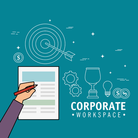 Corporate workspace design with hand signing paper over blue background vector illustration